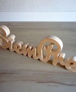 letras de madera natural siempre