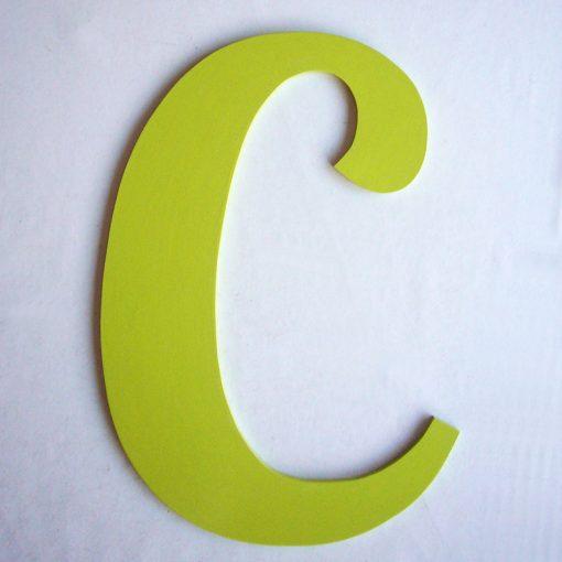 letra c verde de madera