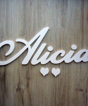 nombre blanco de madera