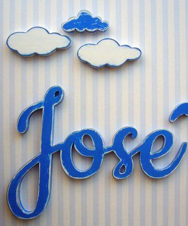 jose de madera color azul vintage