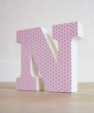 letra n con lunares rosas sobre blanco