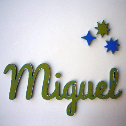 miguel nombre decorado en verde