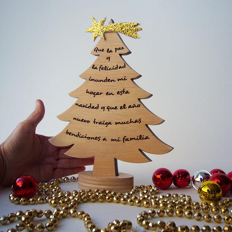 Arbol de navidad con frase decoraletras com Arbol navidad madera