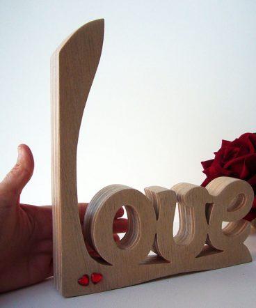 love artesano de madera maciza y corazoncitos