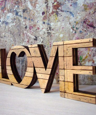 love retro original de madera envjecida