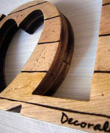 love de madera retro artesanal
