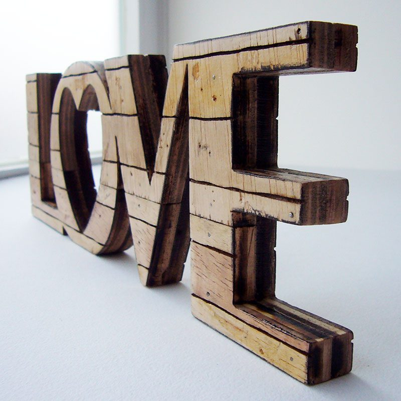 love retro de madera natural estilo palets
