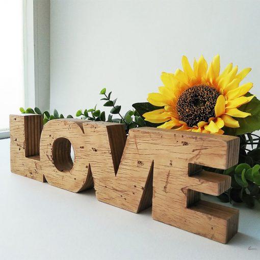 love envejecido de madera reciclada original