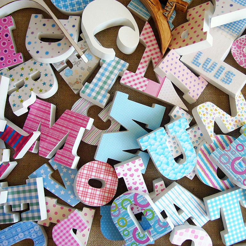 letras-de-madera-decoradas LETRAS DE MADERA PERSONALIZADAS Y TOTALMENTE ARTESANALES